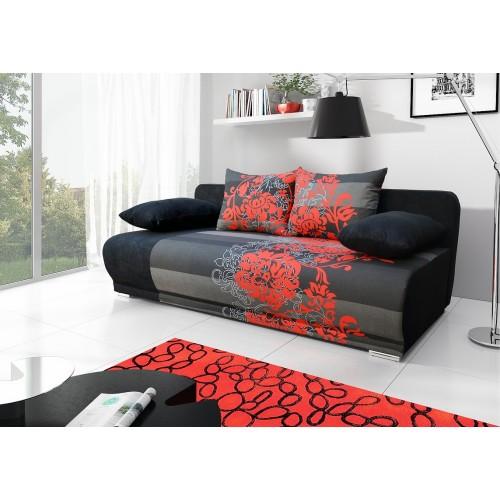 ROMA, obicie: Toni czerwony kwiat +  Alova 04 (czarny), II grupa tkanin