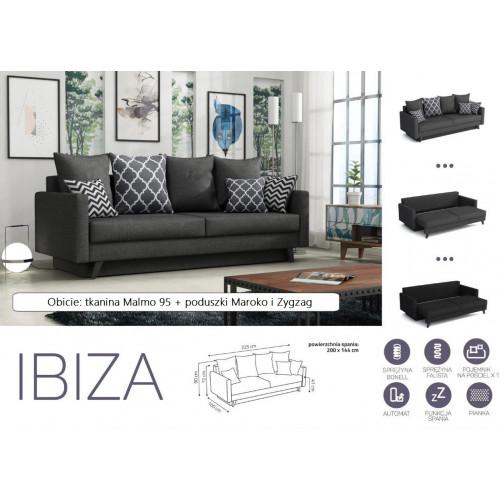 IBIZA, obicie: tkanina Malmo 95 (ciemny szary) + poduszki  Zyzag i Maroko